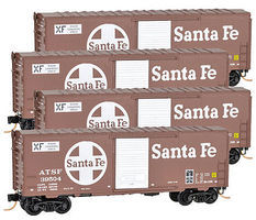 Micro-Trains 40 Boxcar Runner Pack ATSF (4) N Scale Model Train Freight Car Set #99300102