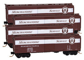 Micro-Trains 40 Boxcar Runner Pack Pennsylvania RR (4) N Scale Model Train Freight Car Set #99300105
