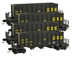 Micro-Trains Ortner 3-Bay Rapid Discharge Hopper (4) CSX N Scale Model Train Freight Car Set #99300110
