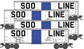 Micro-Trains 40 Steel Ice Reefer 4-Car Runner Pack Soo Line N Scale Model Train Freight Car Set #99300112