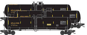 56' General Service Tank Car 3-Car Runner Pack - Ready to Run Union Tank Car Co. UTLX #41010, 41013, 41058 (black, yellow) - N-Scale