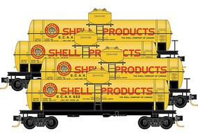 39' Single-Dome Tank Car 4-Car Runner Pack - Ready to Run Shell Products SCAX #622, 623, 625, 627 (yellow, red, black, Billboard Lette - N-Scale