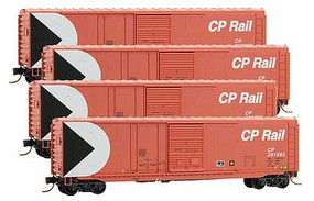 Micro-Trains 50 Plug & Sliding Door Boxcar No Roofwalk 4-Pack - Ready to Run Canadian Pacific #201092, 201096, 201100, 201108 (red, white, Multimark Logo - N-Scale
