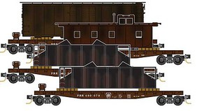 Micro-Trains 50 Fishbelly-Side Flatcar w/Freight Car Loads 4-Pack - Ready to Run Pennsylvania Railroad #480071, 480072, 480075, 480078 (Tuscan) - N-Scale