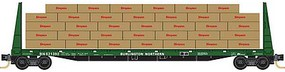 Micro-Trains 61 8 Bulkhead Flatcar with Lumber Load 4-Pack - Ready to Run Burlington Northern 621392, 621408, 621453, 621519 (Cascade Green, white) - N-Scale