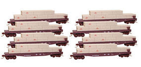 Micro-Trains 50 Flatcar with Load Southern Pacific (8 pack) N Scale Model Train Freight Car Set #99300808