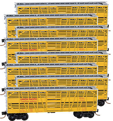 Micro Trains Line 40' Stock Car Union Pacific (8) -- N Scale Model Train Freight Car Set -- #99300809