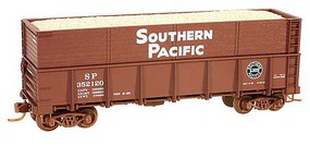 Micro-Trains 40 Drop-Bottom Gondola, Side Extentions, Wood Chip Load 8-Pack, Ready to Ru Southern Pacific (Boxcar Red, white, black, Lines Logo) - N-Scale
