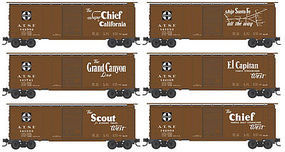 Micro-Trains 40 Single-Door Boxcar 5-Car Runner Pack - Ready to Run Santa Fe (Passenger Names & Map Cars) - N-Scale
