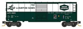 Micro-Trains 40' Single-Door Boxcar w/Internal Tank 4-Car Runner Pack Ready to Run Linde Liquified Gases #2023, 2038, 2047, 2014 (green white, 1 Each of 4 Sche N-Scale