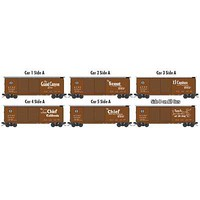Micro-Trains 40' Double-Door Boxcar 5-Pack Ready to Run Santa Fe (Boxcar Red, 5 Streamliner Slogans, Straight Map on Reverse) N-Scale