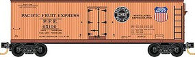 Micro-Trains 40' Double-Sheathed Wood Reefer 16-Pack Ready to Run Pacific Fruit Express (Weathered, orange, Boxcar Red) N-Scale