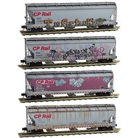 Micro-Trains ACF 3-Bay Center-Flow Hopper w/Elongated Hatches 4-Pack - Ready to Run Canadian Pacific SOO #113802, 113921, 115000, 113810 (Weathered, gray, Graff - N-Scale