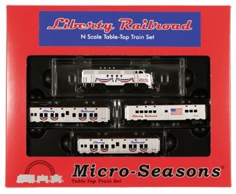Micro Trains Line Micro-Seasons(R) Liberty Town USA Series -- Train Set - Powered FT Diesel, 2 Sleepers, Diner (red, white & blue) - N-Scale