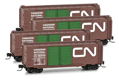 Micro Trains Line 40' Double-Door Boxcar Canadian National 4 Pack -- Z Scale Model Train Freight Car -- #99400065