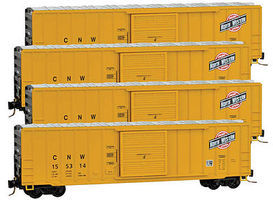 Micro-Trains 50' Ribside Single Door Boxcar Chicago & NW (4) Z Scale Model Train Freight Car #99400071