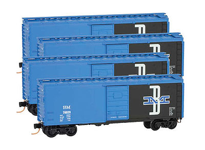 Micro Trains Line Boxcar Runner Pack Boston & Maine (4) -- Z Scale Model Train Freight Car -- #99400076