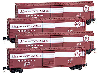 Micro Trains Line 50' Std Boxcar Runner Pack Pennsylvania RR -- Z Scale Model Train Freight Car -- #99400081