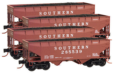 Micro Trains Line 33' Hopper Runner Pack Southern (4) -- Z Scale Model Train Freight Car Set -- #99400084