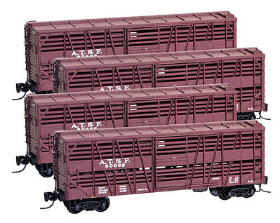 Micro Trains Line 40' Despatch Stock Car 4-Car Runner Pack Santa Fe -- Z Scale Model Train Freight Car -- #99400085