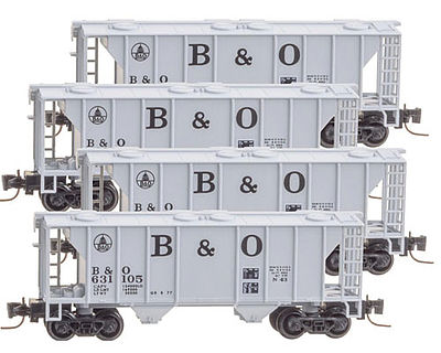 Micro Trains Line PS-2 70-Ton 2-Bay Covered Hopper 4 Pack Baltimore & Ohio -- Z Scale Model Railroad -- #99400086