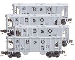 Micro-Trains PS-2 70-Ton 2-Bay Covered Hopper 4 Pack Baltimore & Ohio Z Scale Model Railroad #99400086