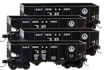 Micro Trains Line 33' 2-Bay Rib-Side Hopper 4-Car Runner Pack - Ready to Run -- Baltimore & Ohio #324752, 324759, 324760, 324793 (black, 13-States Logo) - Z-Scale