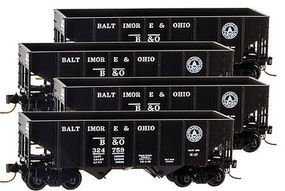 Micro-Trains 33 2-Bay Rib-Side Hopper 4-Car Runner Pack - Ready to Run Baltimore & Ohio #324752, 324759, 324760, 324793 (black, 13-States Logo) - Z-Scale