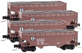 Micro-Trains 33' 2-Bay Offset-Side Open Hopper w/Load 4-Car Runner Pack Ready to Run Santa Fe #180866, 180868, 180879, 180884 (Boxcar Red, white, Quality Logo) Z-Scale