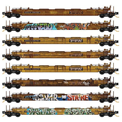 Micro-Trains 70 Husky-Stack Well Car with 48 Well 8-Pack - Ready to Run Z Scale Model Train #99400812