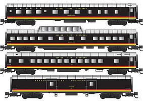 Micro-Trains Smooth-Side Baggage, Coach, Dome, Sleeper 4-Car Set - Ready to Run Kansas City Southern (black, yellow, red, silver) - Z-Scale