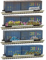 Micro-Trains 50 Rib-Side Single-Door Boxcar No Roofwalk - Ready to Run Golden West Service GVSR (Weathered, Graffiti) - Z-Scale