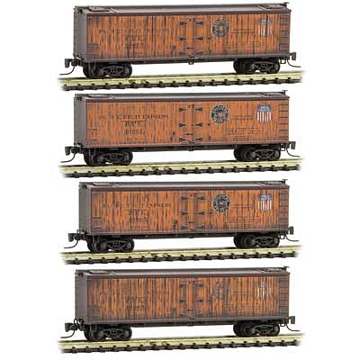 Micro-Trains 40 Wood-Sheathed Ice Reefer 4-Pack - Ready to Run Pacific Fruit Express 19675, 19661, 19663, 19669 (orange, Boxacr Red) - Z-Scale