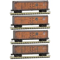 Micro-Trains 40' Wood-Sheathed Ice Reefer 4-Pack Ready to Run Pacific Fruit Express 19675, 19661, 19663, 19669 (orange, Boxacr Red) Z-Scale
