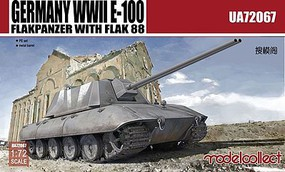 Model-Collect WWII E100 Flakpanzer Tank with Flak 88 Gun Plastic Model Military Vehicle 1/72 #72067