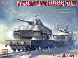 Model-Collect 1/72 WWII German Tank Transport Trains- Schwerer Platformwagons (4), E75 Heavy Tank & E50 Medium Tank