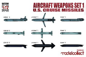 Model-Collect 1/72 Aircraft Weapons Set 1- US Cruise Missiles (9 different, 20 total) (New Tool)