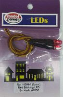 Model-Power 12 volt Red Blink LED with Resistor Model Railroad Light Bulb #100981