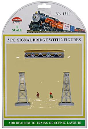 Model Power 3-Piece Signal Bridge Set w/2 Figures (3) -- N Scale Model Railroad Bridge -- #1311