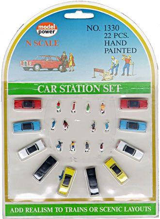 Model Power Cars & Figure Set -- N Scale Model Railroad Vehicle -- #1330