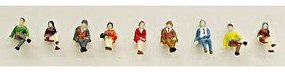 Model-Power Sitting People (9) N Scale Model Railroad Figure #1336