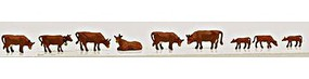 Model-Power Cows & Calves Brown (9) N Scale Model Railroad Figure #1351
