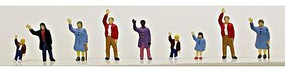 Model-Power People Waving (9) N Scale Model Railroad Figure #1369
