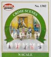 Model-Power Crime Scenes Figures (9) N Scale Model Railroad Figure #1382