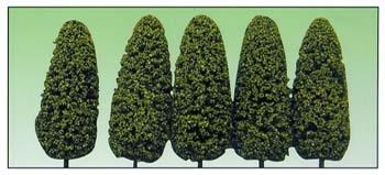 Model Power Medium Green Spring 8'' Trees (5) -- O Scale Model Railroad Tree -- #1435