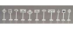 Model Power Road & Rail Signs - pkg(24) -- HO Scale Model Railroad Billboard Sign -- #1454