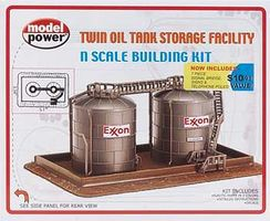 Model-Power Twin Oil Tank Storage Facility Kit N Scale Model Railroad Building #1471