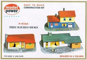 Model-Power Three Suburban Houses Kit N Scale Model Railroad Building #1502