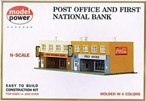 Model-Power Post Office & 1st National Bank Kit N Scale Model Railroad Building #1539
