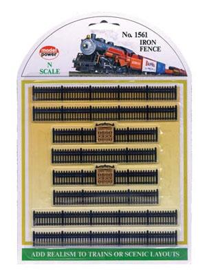 Model Power Iron Fence Sections (8) -- N Scale Model Railroad Trackside Accessory -- #1561
